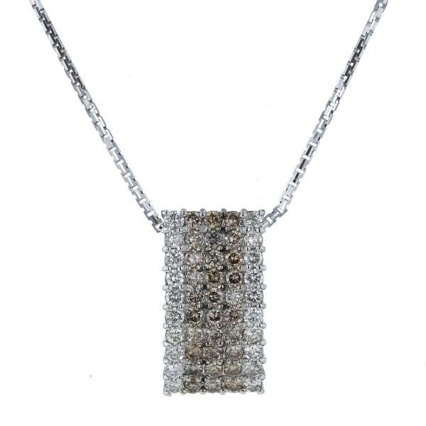 K18WG ホワイトゴールド ネックレス ダイヤモンド 1.78ct パヴェ スクエア ブラウンダイヤ 50cm【新品仕上済】【pa】【中古】【送料無料】
