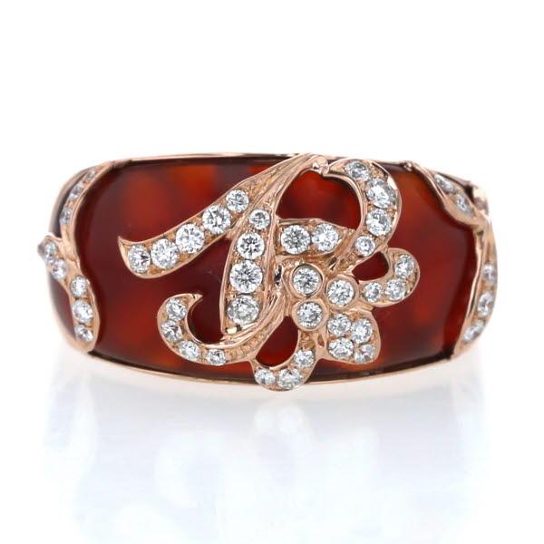 K18PG ピンクゴールド リング めのう 瑪瑙 ダイヤモンド 0.40ct ウェーブ 花 フラワー ユリ デザイン 指輪 9号【新品仕上済】【zz】【中古】【送料無料】