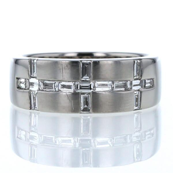 Pt900 プラチナ リング ダイヤモンド 0.56ct ライン 十字模様 クロス つや消し マット 指輪 12.5号【新品仕上済】【el】【中古】【送料無料】