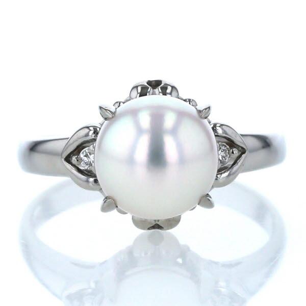 Pt900 プラチナ リング 真珠 パール 8.2mm ダイヤモンド0.02ct サイドストーン 11.5号 指輪【新品仕上済】【pa】【中古】【送料無料】