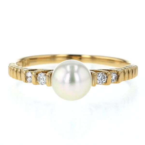K18YG イエローゴールド リング 真珠 パール 5.5mm ダイヤモンド 透かし シンプル デザイン 指輪 9.5号【新品仕上済】【el】【中古】【送料無料】