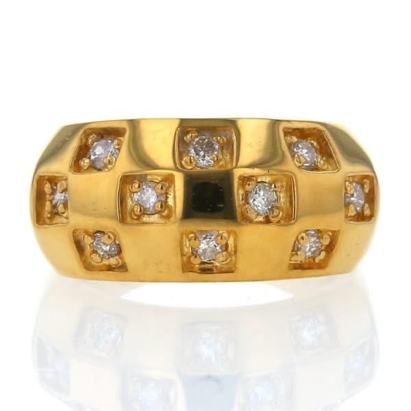 銀座三越 K24YG 純金 イエローゴールド リング ダイヤモンド 0.35ct スクエア 格子 デザイン 指輪 9.5号【新品仕上済】【zz】【中古】【送料無料】