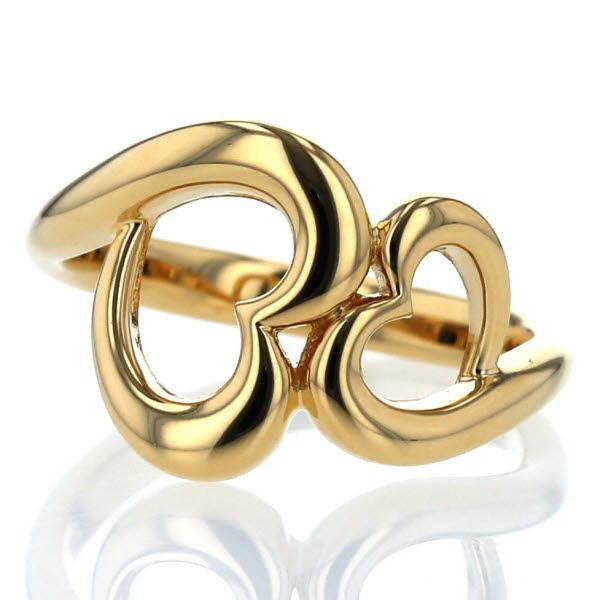 K18YG イエローゴールド リング ハート オープンハート ダブルハート デザイン 指輪 11号【新品仕上済】【el】【中古】【送料無料】