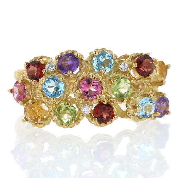 K18YG イエローゴールド リング アメジスト シトリン マルチストーン 1.60ct ダイヤモンド 0.03ct デザイン 指輪 14.5号【新品仕上済】【af】【中古】【送料無料】