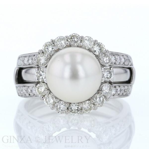 Pt900 プラチナ リング 真珠 パール ダイヤモンド 0.74ct 0.10ct デザイン 11号 指輪【新品仕上済】【zz】【中古】【送料無料】