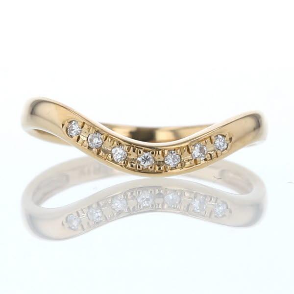 K18YG イエローゴールド リング ダイヤモンド ウェーブ カーブ デザイン 10.5号 指輪【新品仕上済】【af】【中古】