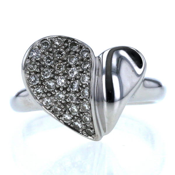 K18WG ホワイトゴールド リング ダイヤモンド 0.30ct パヴェ ハート デザイン 指輪 9号 【新品仕上済】【pa】【中古】【送料無料】