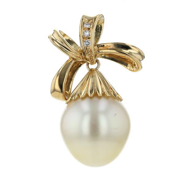 K18YG イエローゴールド ペンダントトップ 南洋真珠 パール リボン ダイヤモンド 0.02ct スイング デザイン【新品仕上済】【af】【中古】【送料無料】