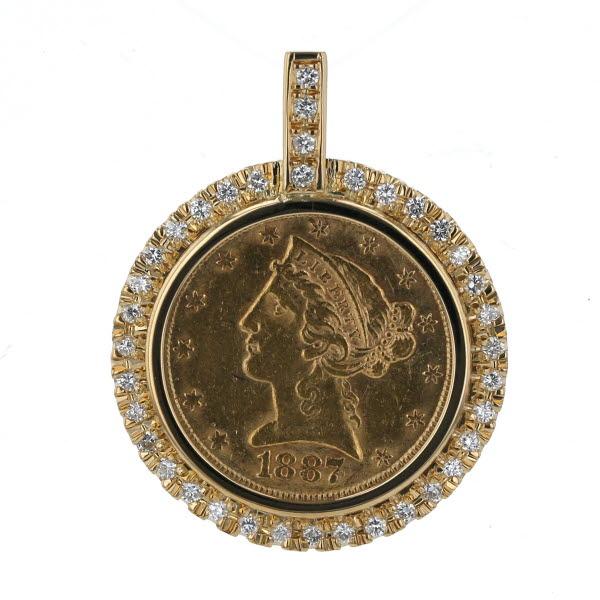 K18YG K21.6YG イエローゴールド ペンダントトップ ダイヤモンド 0.53ct 5ドル 1887年 リバティコイン デザイン【新品仕上済】【af】【中古】【送料無料】