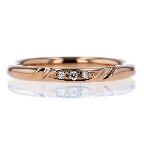 K18PG ピンクゴールド リング ダイヤモンド 0.02ct 三粒 デザイン マリッジ シンプル 指輪 9.5号【新品仕上済】【pa】【中古】【送料無料】