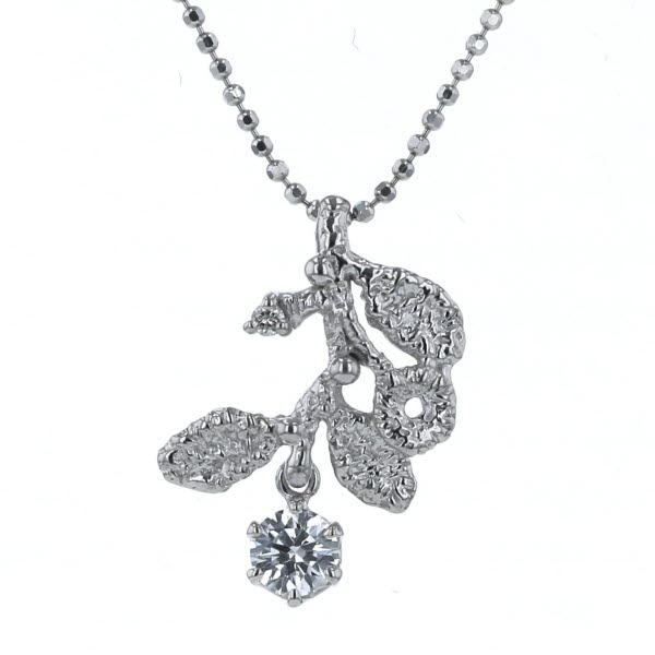 K18WG ホワイトゴールド ネックレス ダイヤモンド 0.22ct/0.01ct 葉 花 リーフ フラワー 植物 スイング 45cm【新品仕上済】【af】【中古】【送料無料】