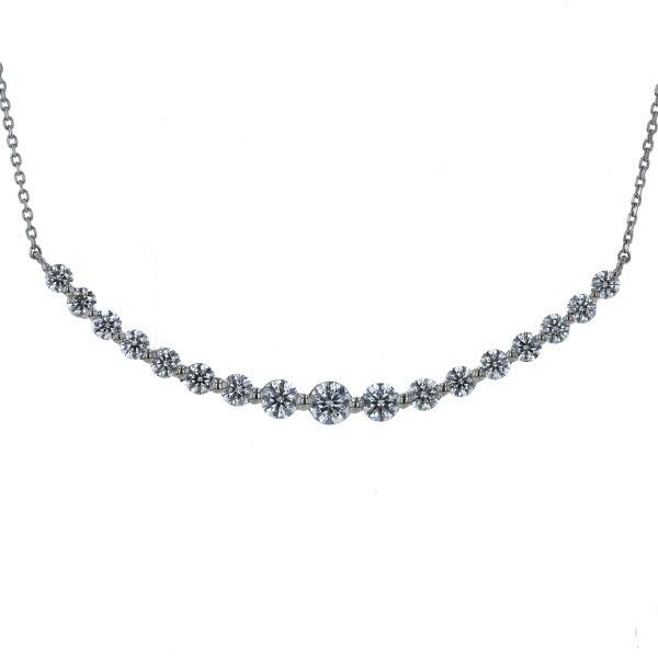 Pt850 Pt900 プラチナ ネックレス ダイヤモンド 1.00ct スマイルライン アーチ 曲線 デザイン 44cm【新品仕上済】【zz】【中古】【送料無料】