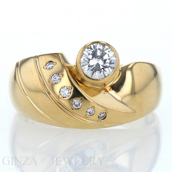 K18 イエローゴールド リング ダイヤモンド 0.46ct/0.06ct デザイン 16号 指輪【新品仕上済】【zz】【中古】【送料無料】