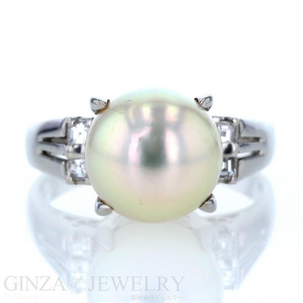 Pt850 プラチナ リング 真珠 パール 10.4mm ダイヤモンド 0.15ct 一粒 シンプル デザイン 指輪 14.5号 【新品仕上済】【el】【中古】【送料無料】