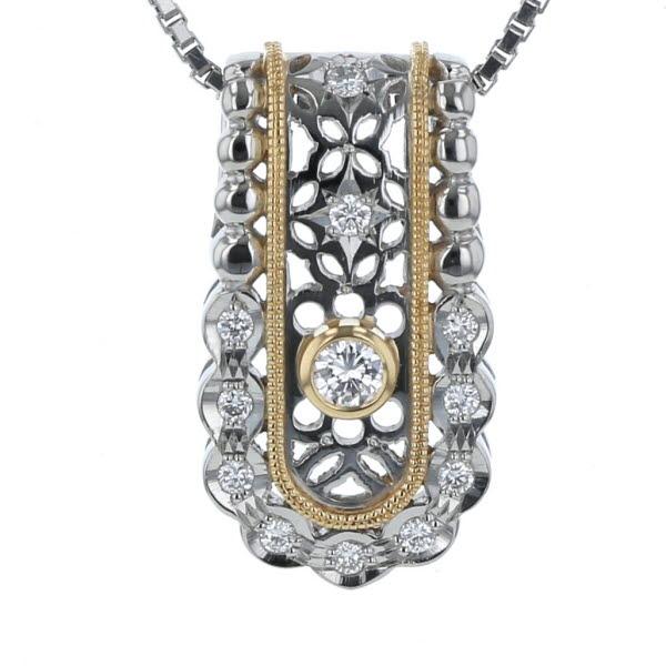 Pt850 Pt900 ?18 プラチナ イエローゴールド ネックレス ダイヤモンド 0.17ct 透かし レース デザイン 45.5cm【新品仕上済】【pa】【中古】【送料無料】