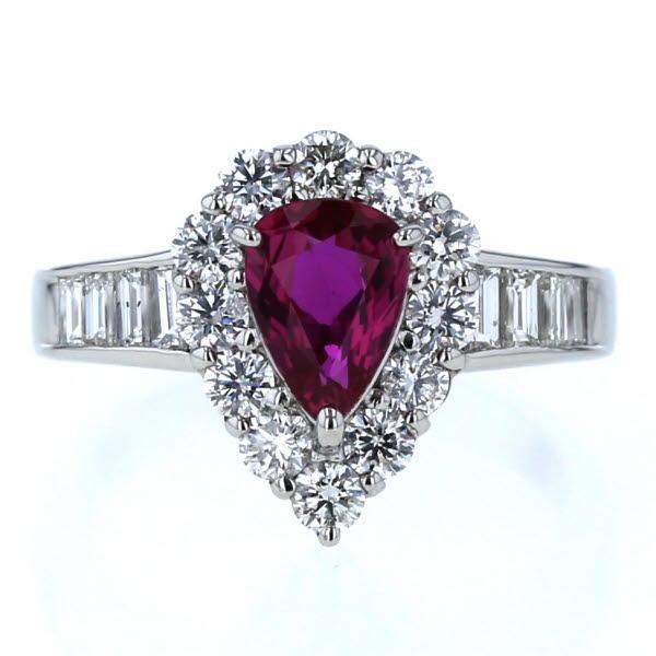 Pt900 プラチナ リング ルビー 1.039ct ダイヤモンド 1.00ct 雫 ドロップ 取り巻き デザイン 指輪 9.5号【新品仕上済】【pa】【中古】【送料無料】