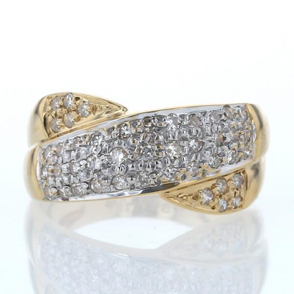 K18YG WG イエローゴールド ホワイトゴールド リング ダイヤモンド 0.50ct パヴェ クロス デザイン 指輪 14.5号【新品仕上済】【af】【中古】【送料無料】