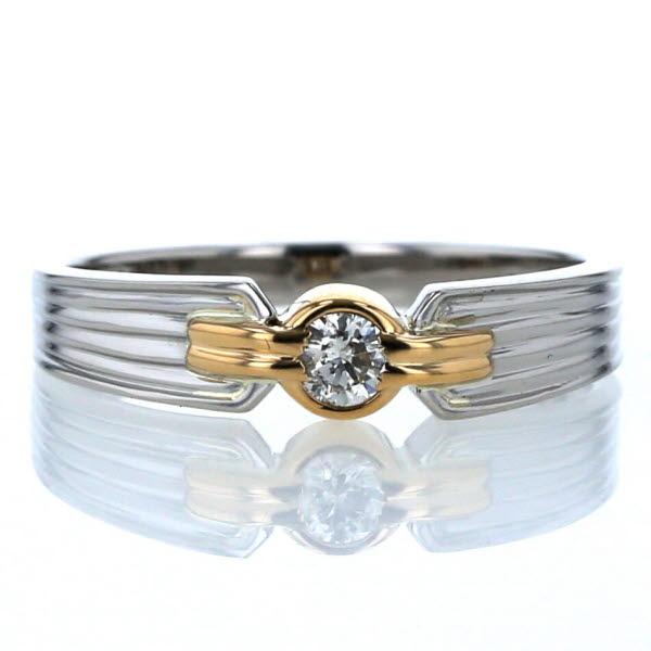Pt900 K18YG プラチナ イエローゴールド リング 一粒ダイヤモンド 0.10ct ベゼルセッティング 12.5号 指輪【新品仕上済】【pa】【中古】【送料無料】