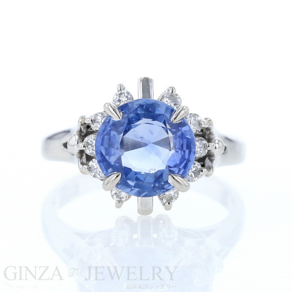 Pt900 プラチナ リング ブルーサファイア 2.77ct ダイヤモンド 0.20ct 指輪 9.5号【新品仕上済】【zz】【中古】【送料無料】