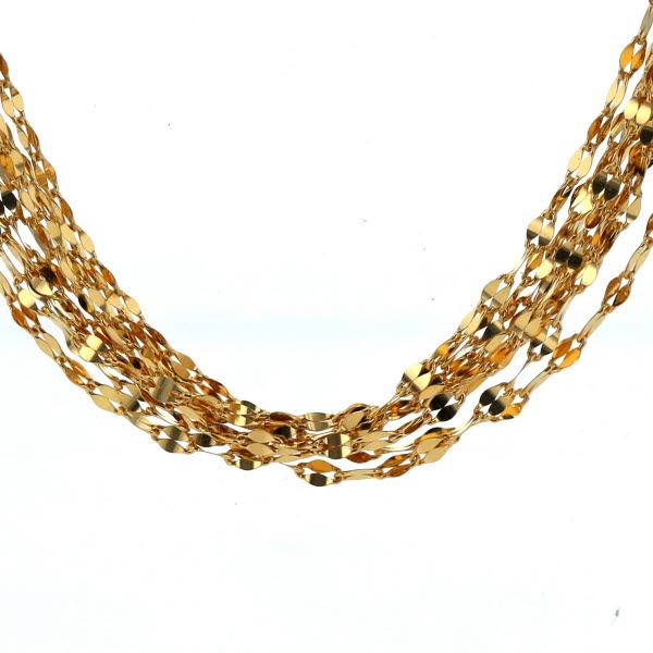 K24 K18 イエローゴールド 純金 ネックレス ペダルチェーン 8連 プレート デザイン ネックレス 49.5cm【新品仕上済】【zz】【中古】【送料無料】