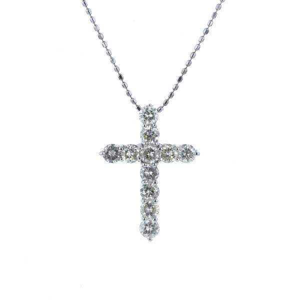 K18WG ホワイトゴールド ネックレス ダイヤモンド 1.00ct クロス 十字架 デザイン カットボール チェーン 40cm【新品仕上済】【af】【中古】【送料無料】