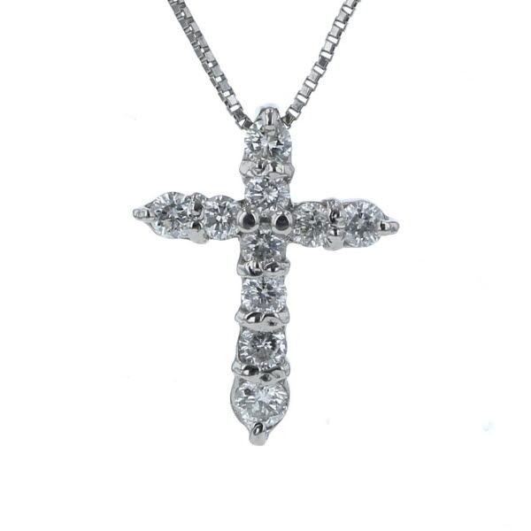 Pt900 Pt850 プラチナ ネックレス ダイヤモンド 0.50ct クロス 十字架 シンプル 41cm【新品仕上済】【el】【中古】【送料無料】