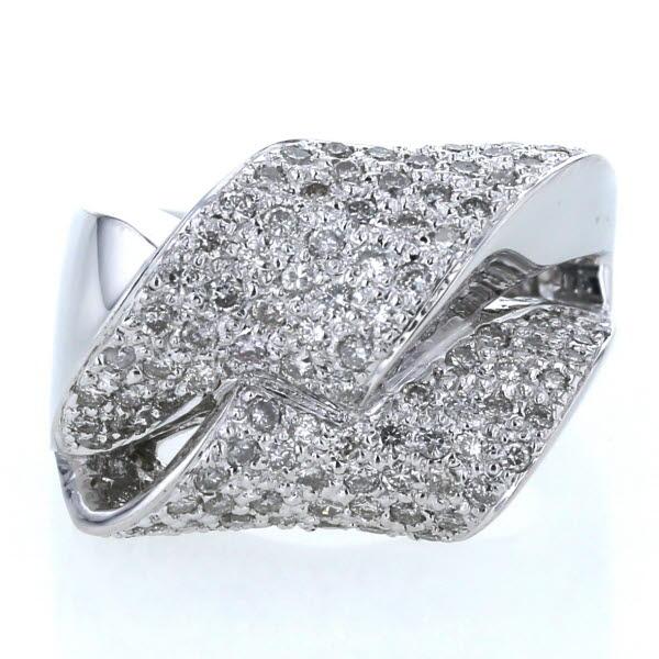 K18WG ホワイトゴールド リング ダイヤモンド 1.00ct パヴェセッティング 透かし 個性的 ゴージャス 指輪 12号【新品仕上済】【zz】【中古】【送料無料】