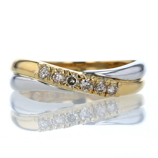 K18YG イエローゴールド 付与 K14WG ホワイトゴールド リング ダイヤモンド 0.16ct 中古 クロスライン 11.5号 送料無料 新品仕上済 pa 永遠の定番 指輪