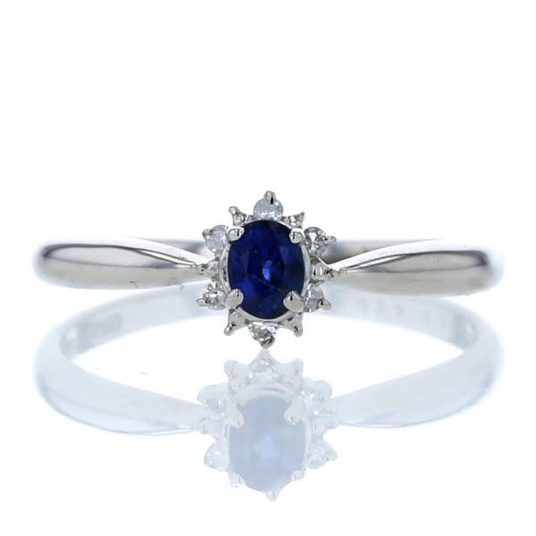 Pt900 プラチナ リング サファイア 0.25ct ダイヤモンド 0.04ct 取り巻き シンプル デザイン 指輪 11.5号【新品仕上済】【pa】【中古】【送料無料】