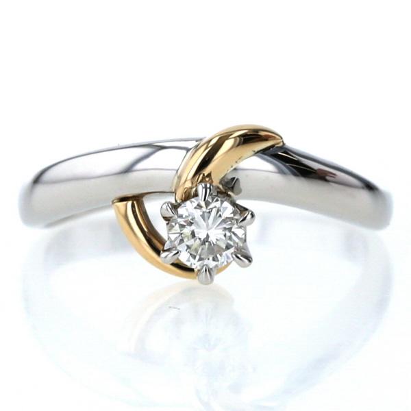 Pt850 K18YG メーカー公式 コンビ リング ダイヤモンド 0.20ct 一粒石 カーブ 中古 el シンプル 指輪 新品仕上済 送料無料 デザイン 9.5号 2020新作