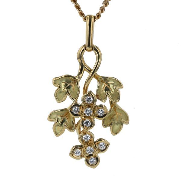 K18YG イエローゴールド ネックレス ダイヤモンド 0.16ct 花 葉 フラワー リーフ 植物 房 デザイン 42cm【新品仕上済】【pa】【中古】【送料無料】
