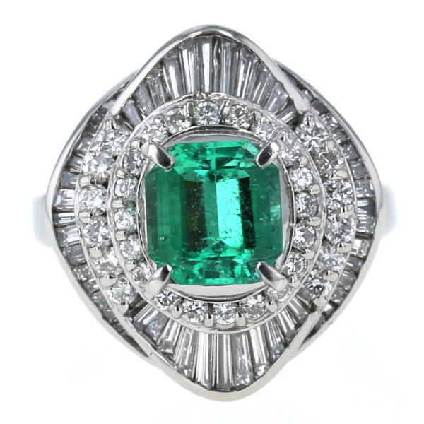Pt900 プラチナ リング エメラルド 1.48ct ダイヤモンド 1.30ct スクエア ひし形 幅広 取り巻き 指輪 11.5号【新品仕上済】【zz】【中古】【送料無料】