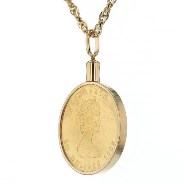 K18YG 24 イエローゴールド ネックレス コイン 999 9 1 2oz メイプルリーフ金貨 コイン 楓 エリザベス デザイン 69 5cm新品仕上済parBdoeCx