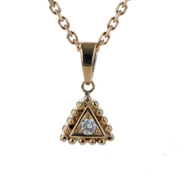 K18YG イエローゴールド ネックレス ダイヤモンド 0.046ct トライアングル モチーフ 三角 40cm【新品仕上済】【af】【中古】【送料無料】