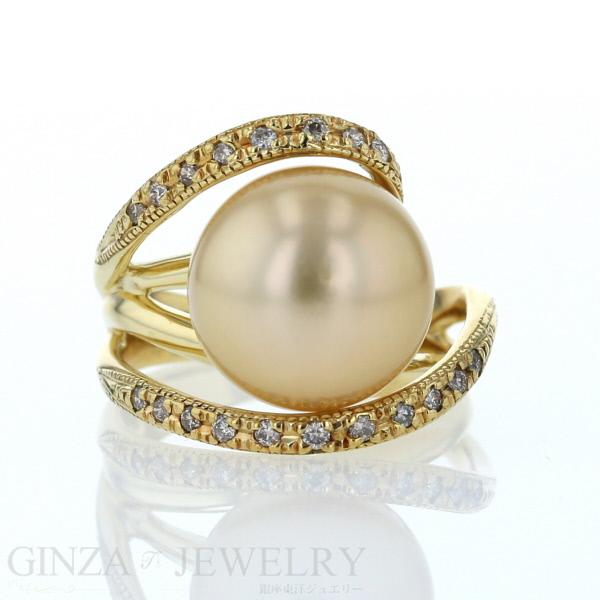 K18 イエローゴールド リング 南洋真珠 パール ダイヤモンド 0.19ct 透かし デザイン 10号 指輪【新品仕上済】【zz】【中古】【送料無料】
