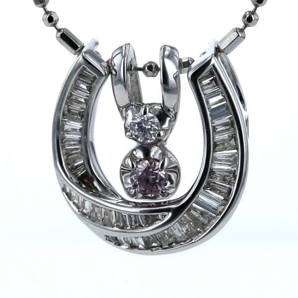 Pt850 K18WG プラチナ ホワイトゴールド 3Way ネックレス ピンクダイヤモンド 0.16 0.02 0.05ct ホースシュー 60cm 【新品仕上済】【zz】【中古】【送料無料】