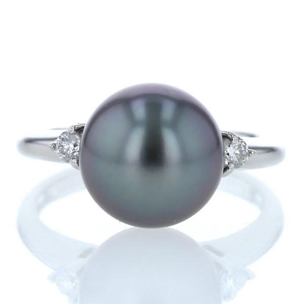 Pt900 プラチナ リング 黒蝶真珠 9.2mm ダイヤモンド 0.07ct パール シンプル 6号 指輪【新品仕上済】【af】【中古】【送料無料】