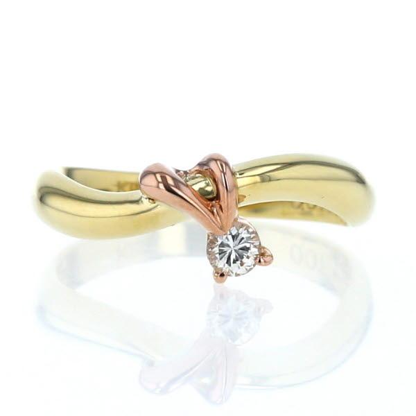 K18YG PG イエローゴールド ピンクゴールド リング ダイヤモンド ウェーブ 1粒 ピンキー デザイン 指輪 5号【新品仕上済】【af】【中古】【送料無料】