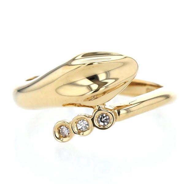 スネーク K18YG ダイヤモンド アニマル 蛇 10.5号【新品仕上済】【pa】【中古】【送料無料】 3石 デザイン イエローゴールド リング 指輪