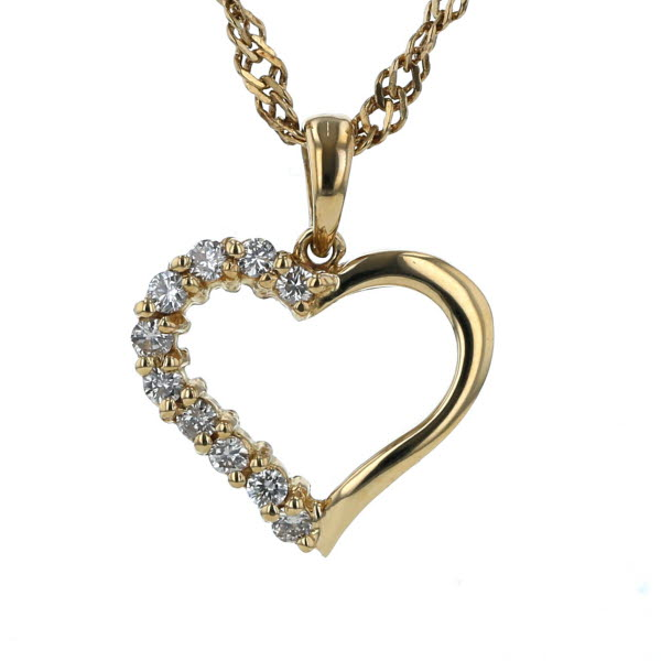 K18YG イエローゴールド ネックレス ダイヤモンド 0.23ct オープンハート デザイン スクリューチェーン 40cm【新品仕上済】【af】【中古】【送料無料】