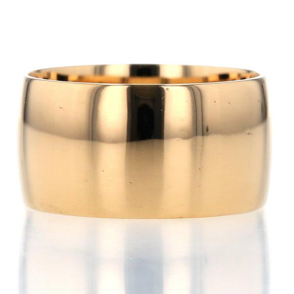 K20YG イエローゴールド 幅広 シンプル デザイン 平甲丸 新品未使用正規品 指輪 14号 el 国内正規品 レディース メンズ 送料無料 新品仕上済 中古