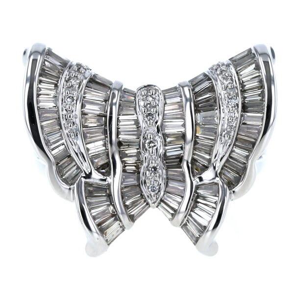 K18WG ホワイトゴールド リング ダイヤモンド 1.65ct 蝶 バタフライ テーパー ゴージャス デザイン 指輪 15号【新品仕上済】【pa】【中古】【送料無料】