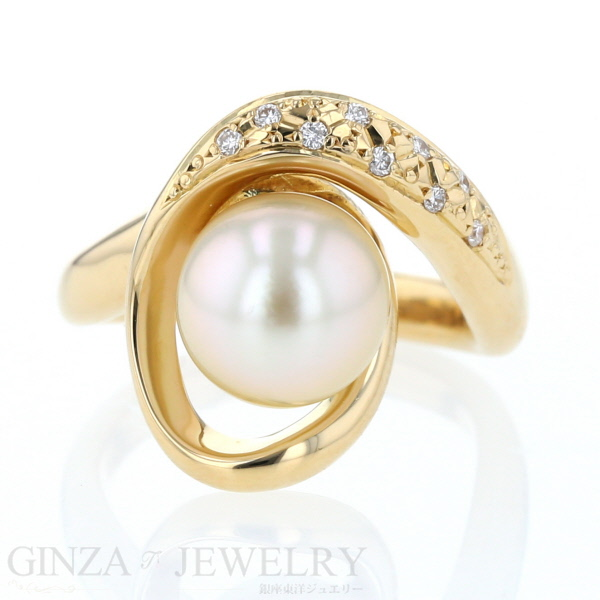 K18YG イエローゴールド リング 真珠 ダイヤモンド 0.07ct ウェーブ エレガント デザイン 11号 指輪【新品仕上済】【zz】【中古】【送料無料】