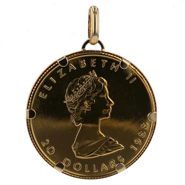 K18YG イエローゴールド ネックレストップ メープルリーフ 1988年 エリザベス 金貨 コイン 20ドル 999.9 1/2oz【新品仕上済】【af】【中古】【送料無料】