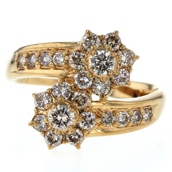 K18YG イエローゴールド リング ダイヤモンド 1.00ct 花 フラワー クロス ウェーブ デザイン 14号 指輪【新品仕上済】【af】【中古】【送料無料】