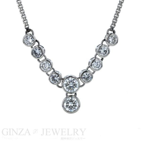 Pt850 Pt900 プラチナ ネックレス ダイヤモンド 1.50ct デザイン 44cm【新品仕上済】【zz】【中古】【送料無料】
