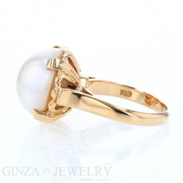 K18 イエローゴールド リング ハーフパール 指輪 10号 純白 デザイン 小さめ新品仕上済zz送料無料ukPiOXZT
