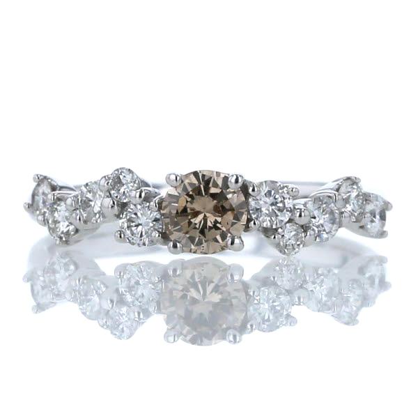 K18WG ホワイトゴールド リング ダイヤモンド 0.70ct ブラウン ジグザグ デザイン 指輪 11号【新品仕上済】【af】【中古】【送料無料】