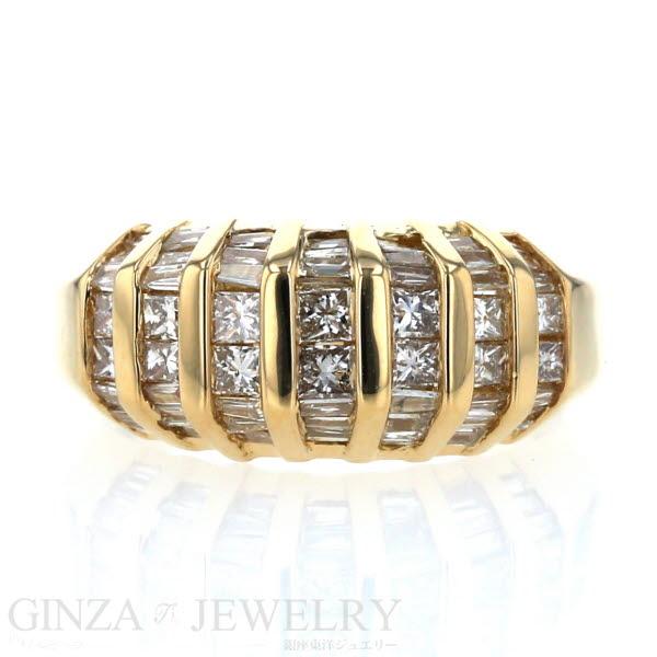 K18YG イエローゴールド リング ダイヤモンド 1.00ct ライン ストライプ デザイン 指輪 12号【新品仕上済】【zz】【中古】【送料無料】