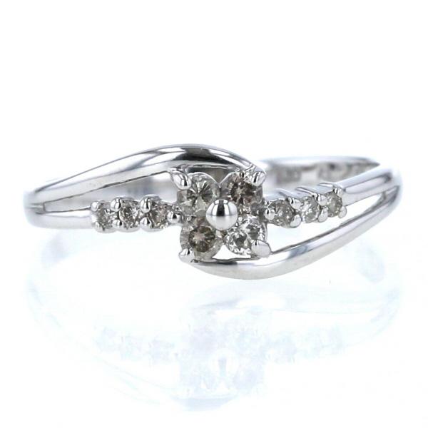 K10WG ホワイトゴールド リング ダイヤモンド 0.20ct 男女兼用 花 フラワー ライン カーブ 11.5号 新品仕上済 中古 デザイン af ウェーブ 指輪 送料無料 いつでも送料無料